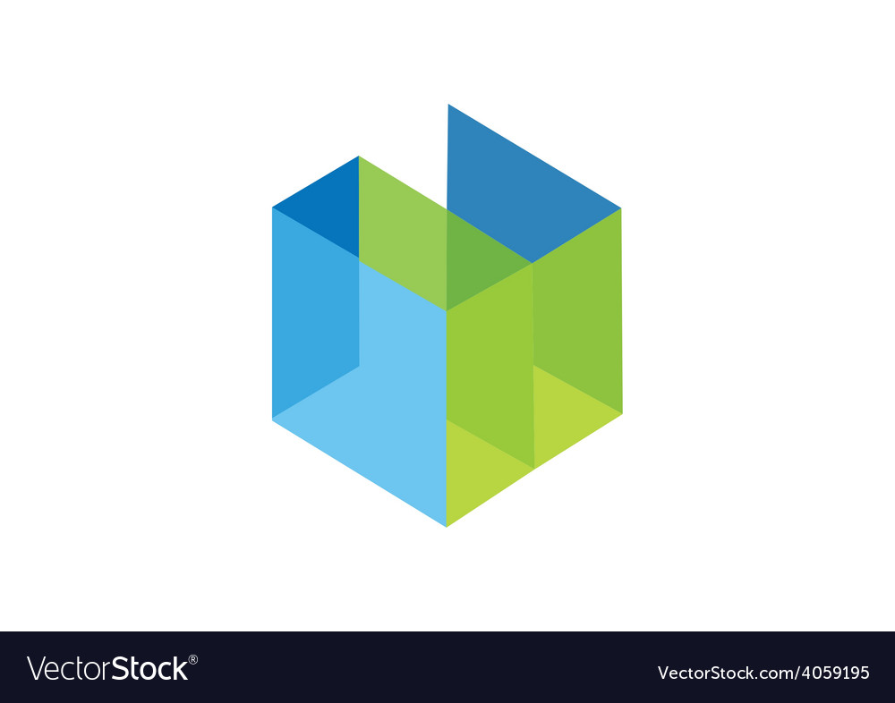 Cube 3d interior abstract logo vector