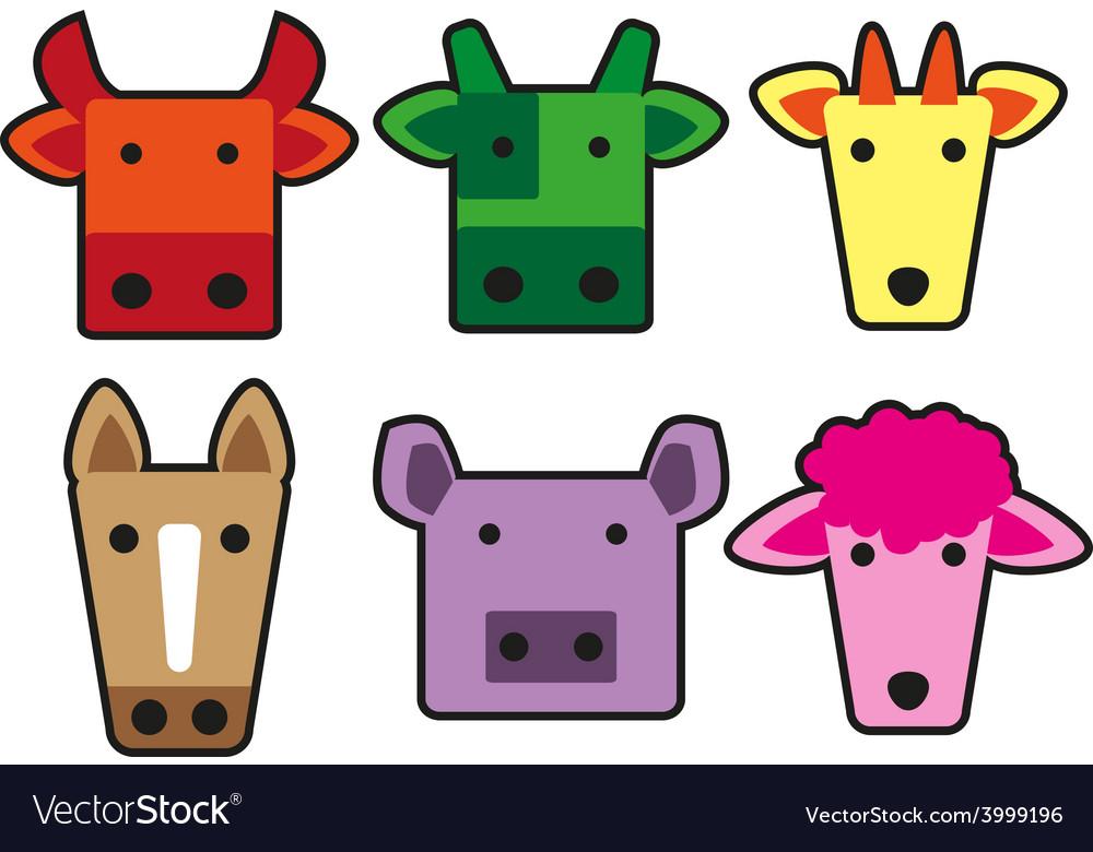Animal head cartoon rectangle vector