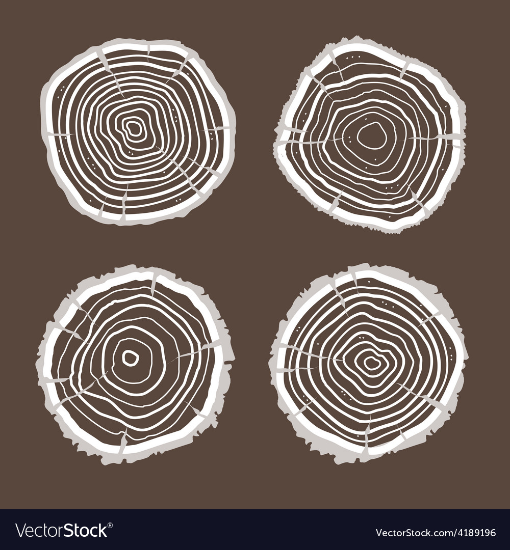 Tree rings set flat design vector