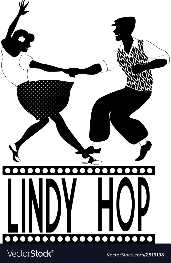 Lindy hop silhouette vector