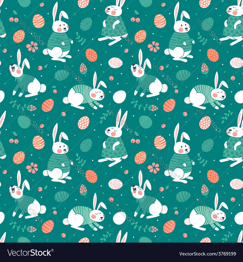 Happy easter seamless pattern with cute bunnies vector
