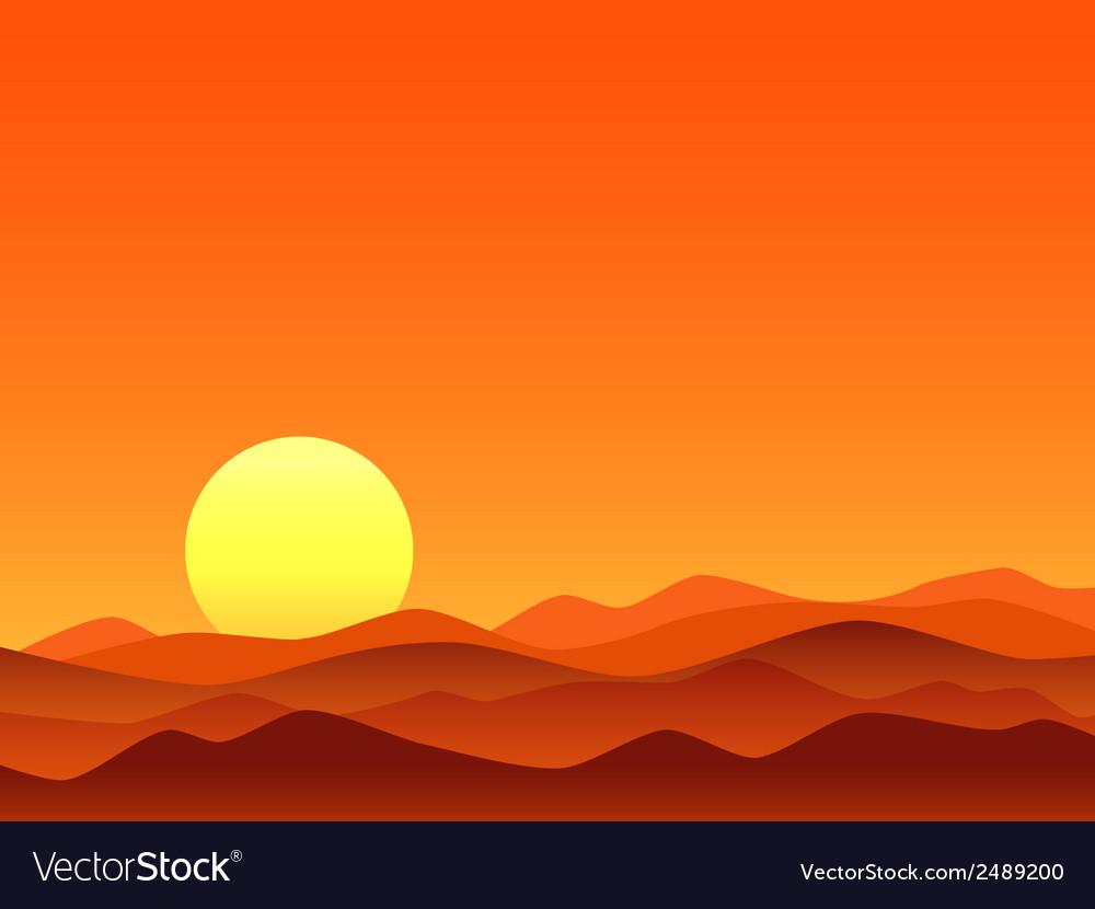 Red desert bright sunrise vector