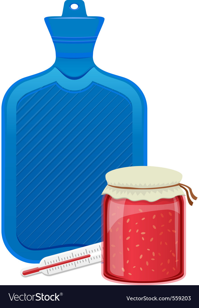 Hot water bottle thermometer and raspberry jam vector