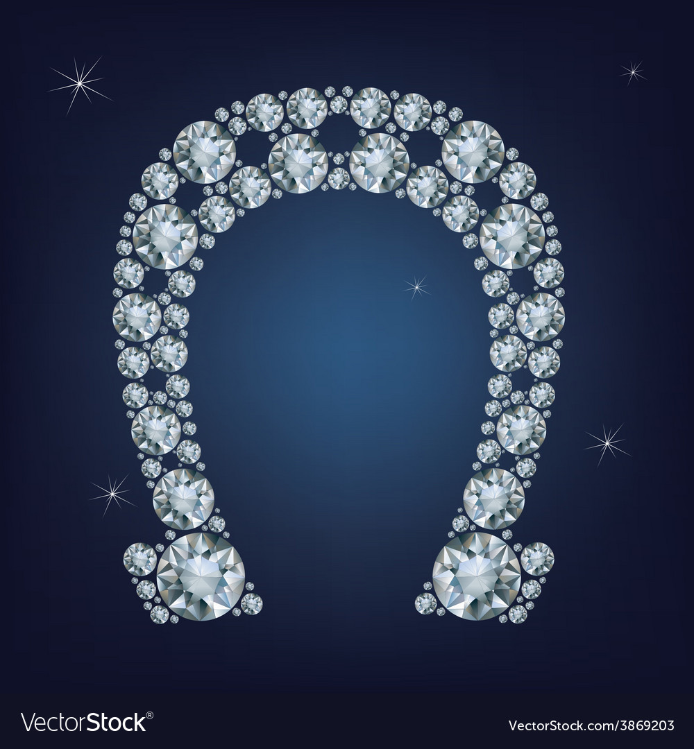 Lucky horseshoe made a lot of diamonds vector