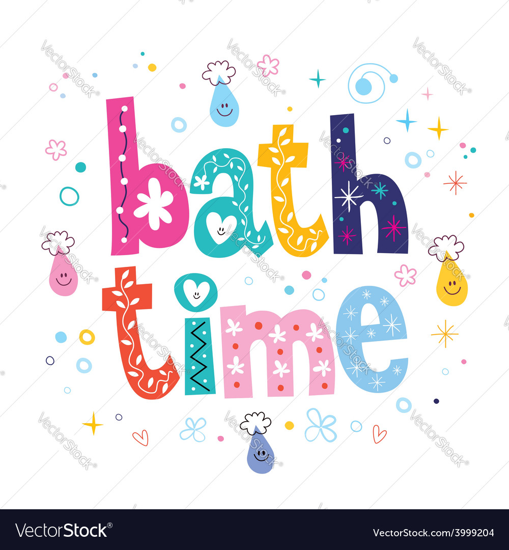 Bath time decorative lettering type design vector
