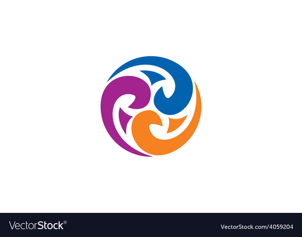 Decorative circle swirl abstract logo vector