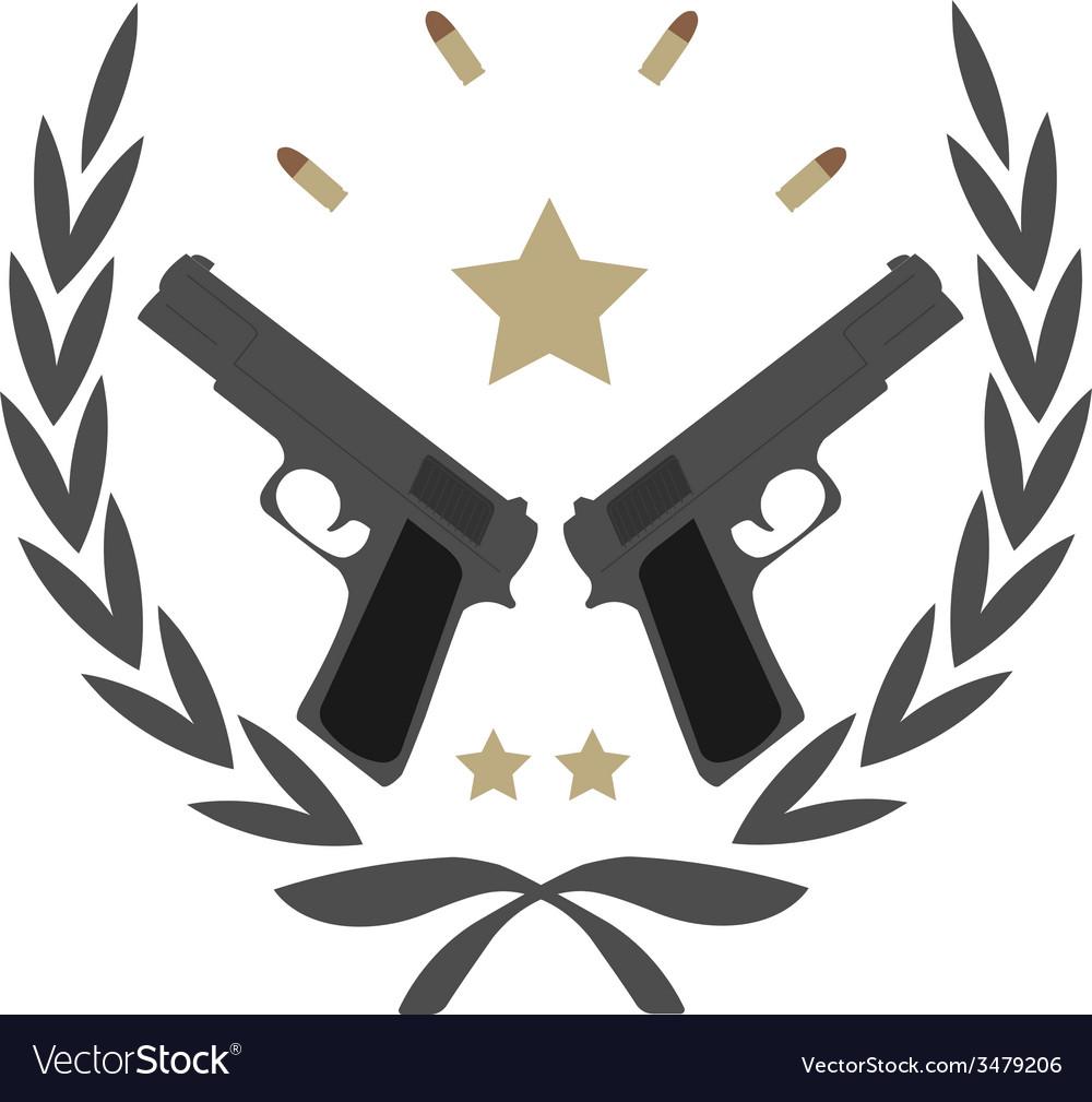 2 pistols in laurel wreath emblem vector