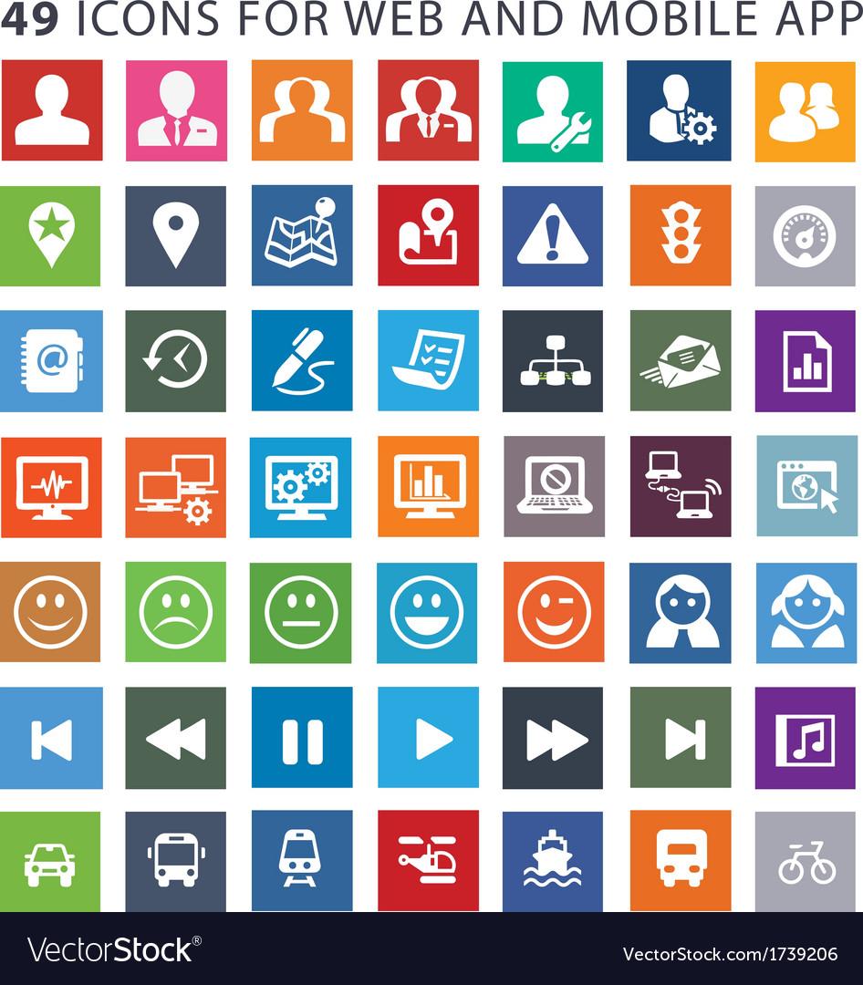 49 flat design icons vector