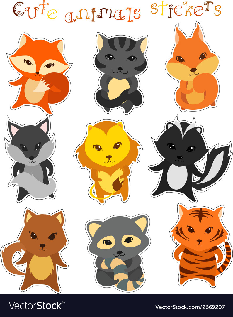 Set of cute funny cartoon animals vector