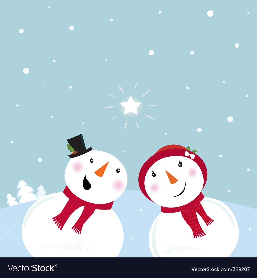 Snowman and woman in love vector