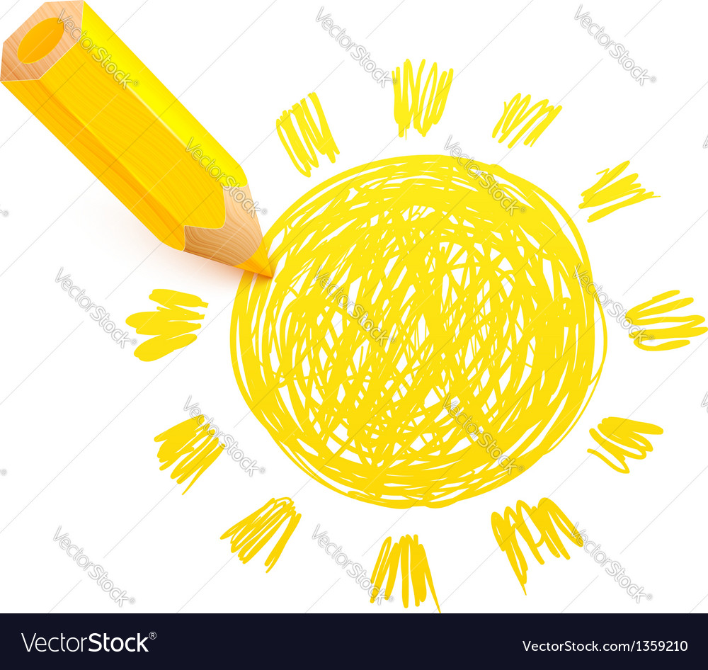 Yellow cartoon pencil with doodle sun vector