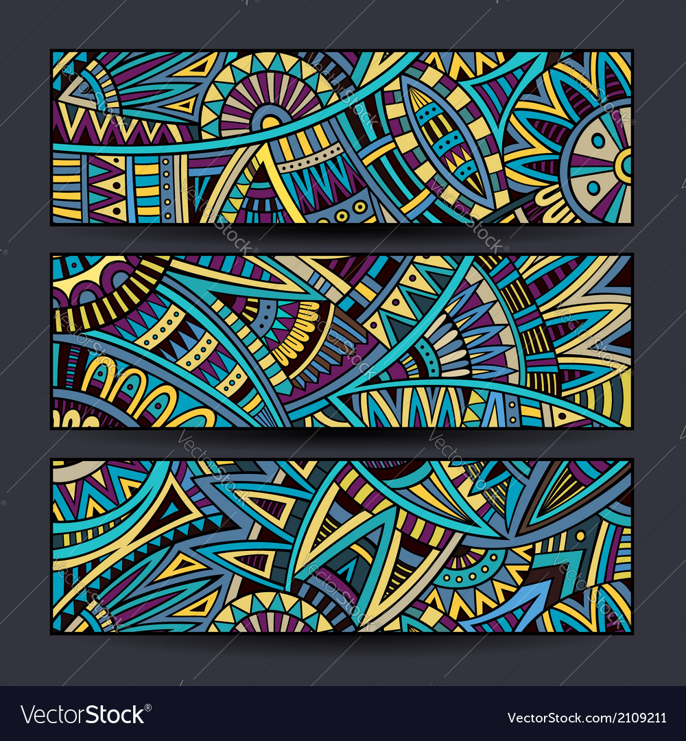 Abstract ethnic pattern cards set vector