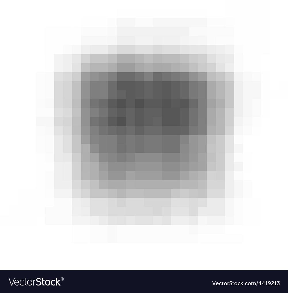 Pixel grunge black stain over white vector