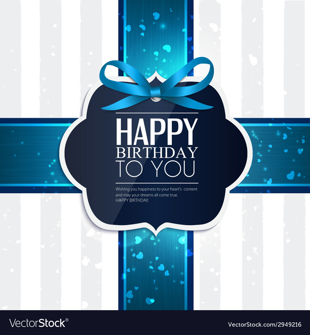 Birthday card with ribbon and birthday text vector