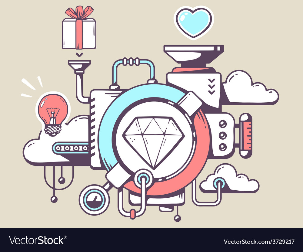 Mechanism with diamond and relevant icons vector