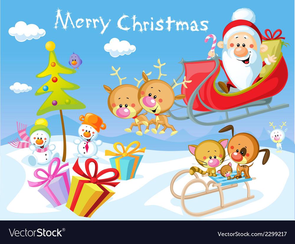 Merry christmas design with santa claus sleigh vector