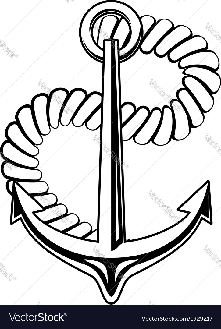 Nautical anchor with a coiled rope vector