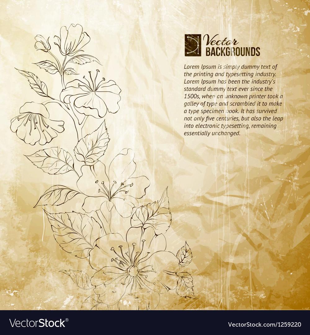 Rough draft of spring sakura vector