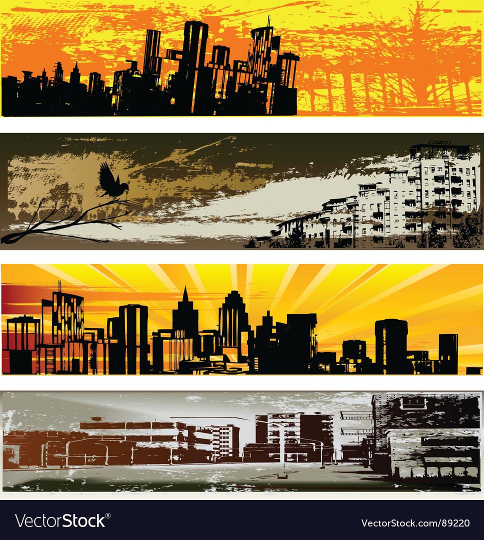 Urban web banner templates vector