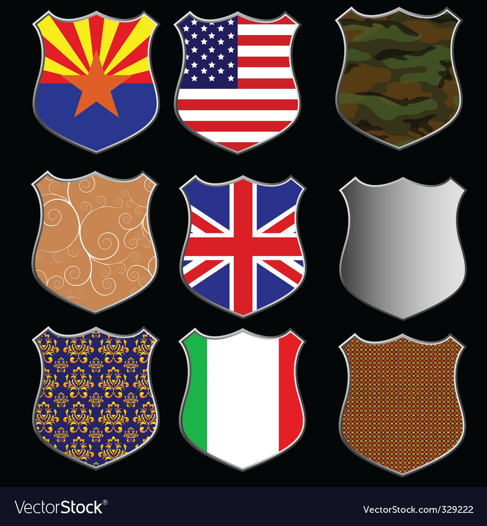 Assorted shields vector