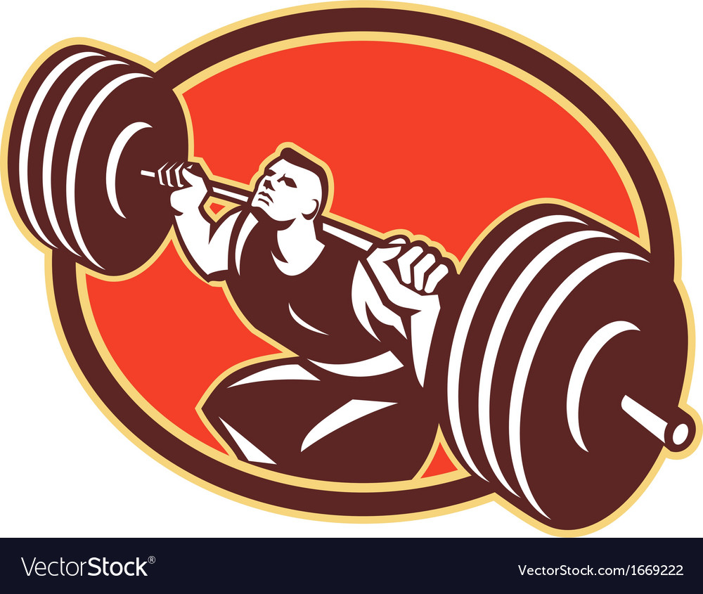 Weightlifter lifting barbells cross-fit retro vector