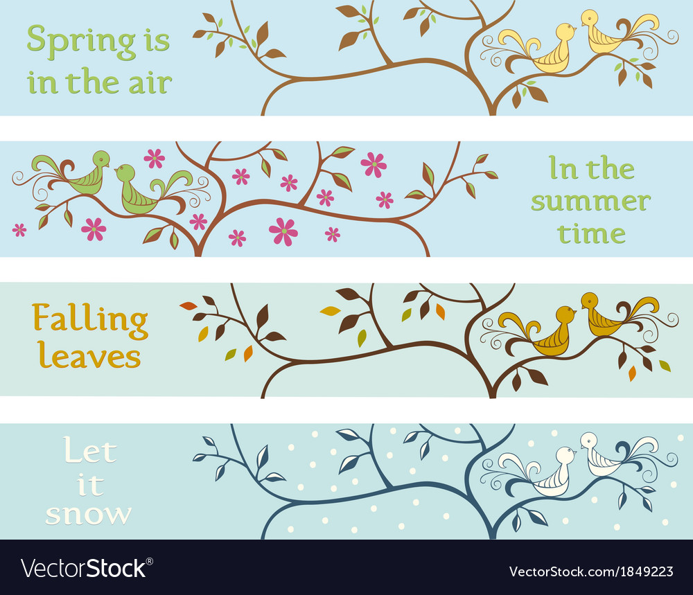 Four seasonal banners vector
