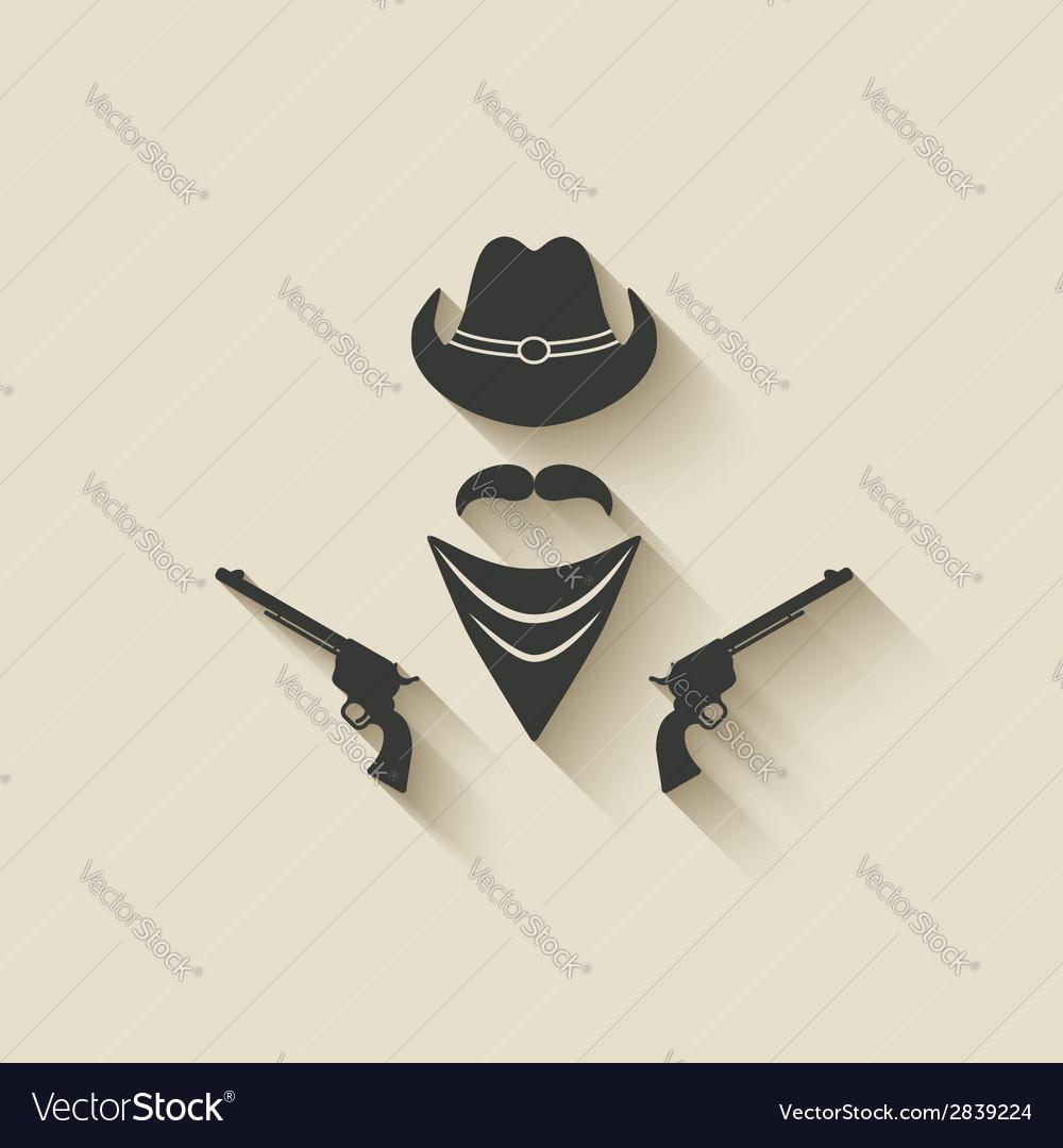 Cowboy hat and gun vector