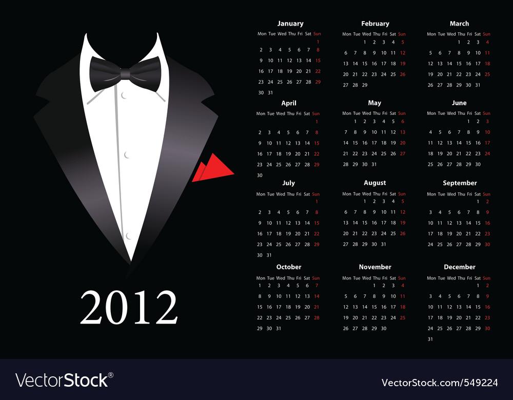 european calendar 2012 with elegant suit st vector
