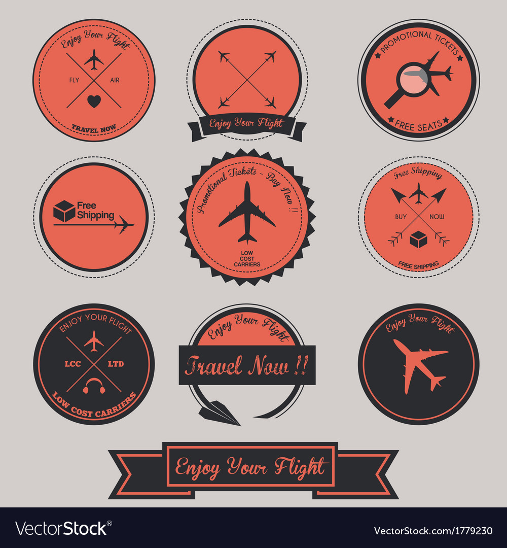 Airplane label design vector