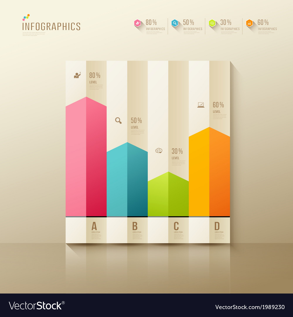 Colorful origami paper graph infographic vector