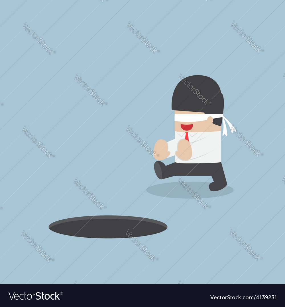 Blindfolded businessman walking into the hole vector