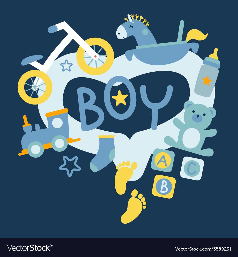 Newborn boy toys vector