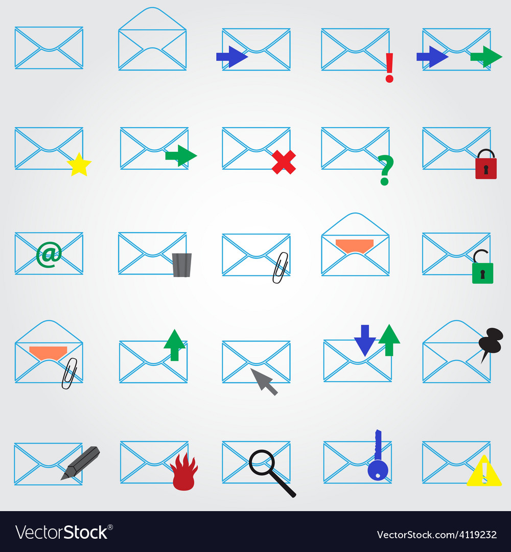 Computer mail simple outline blue icons eps10 vector