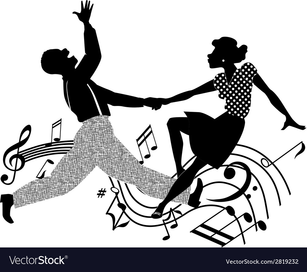 Retro dancing silhouette vector