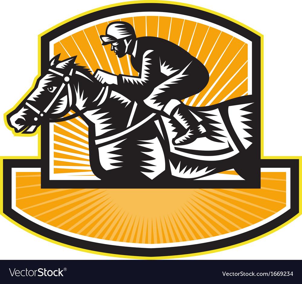Horse racing side woodcut retro vector