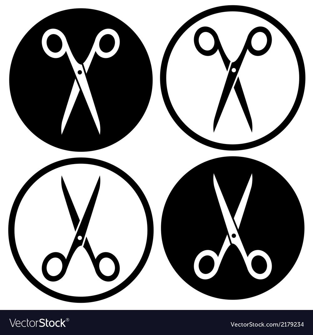 Set round scissors icon vector