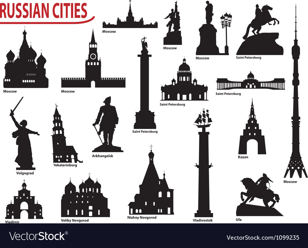 Symbols of russian cities vector