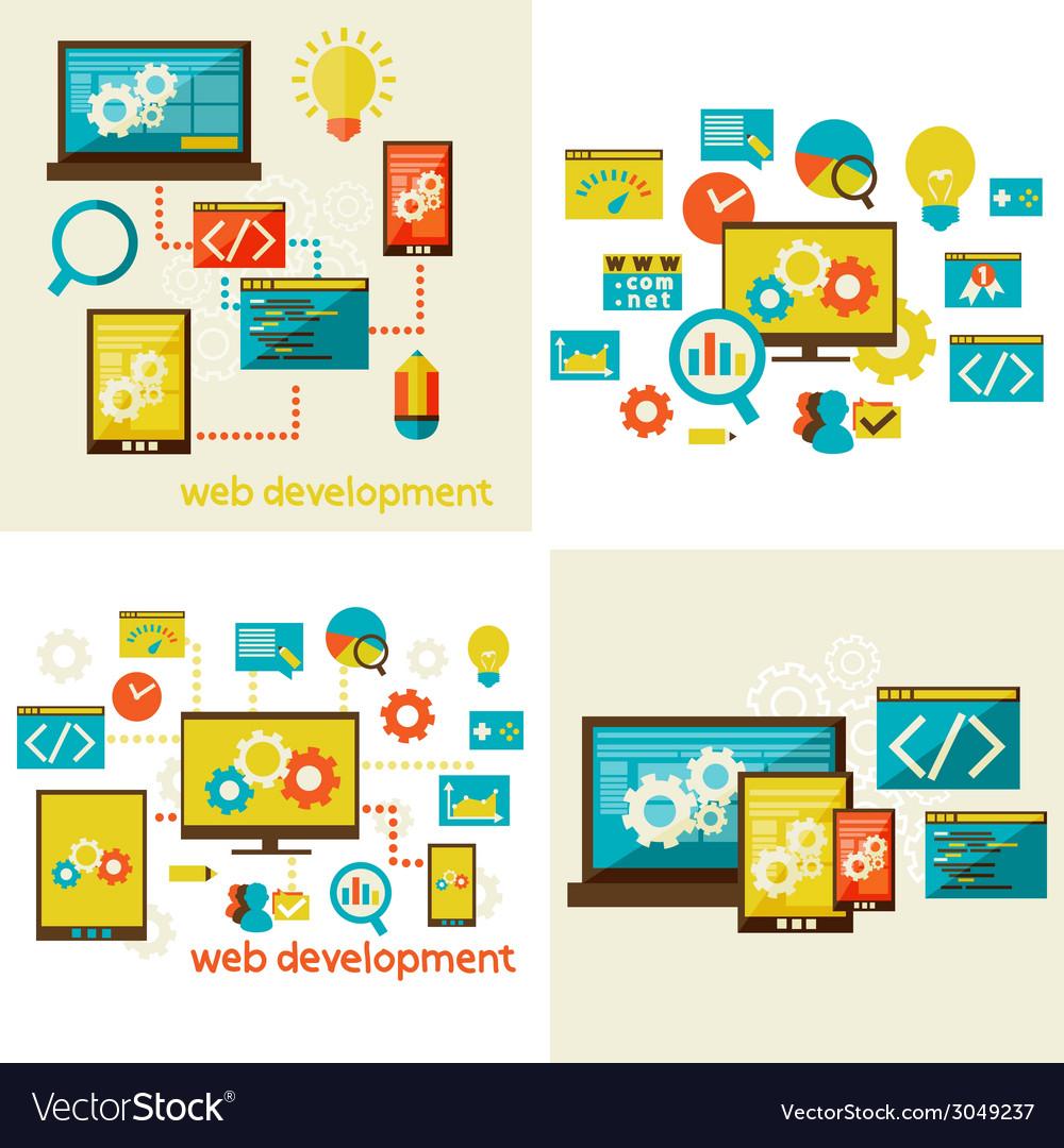 Set of flat design concept for web vector