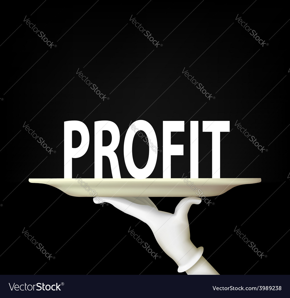 Hand holding a tray with the word profit vector