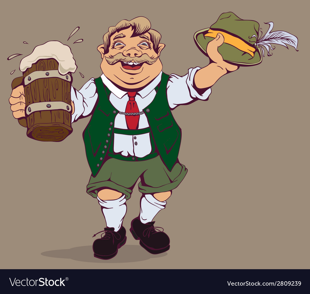 Drunk fat german with beer vector