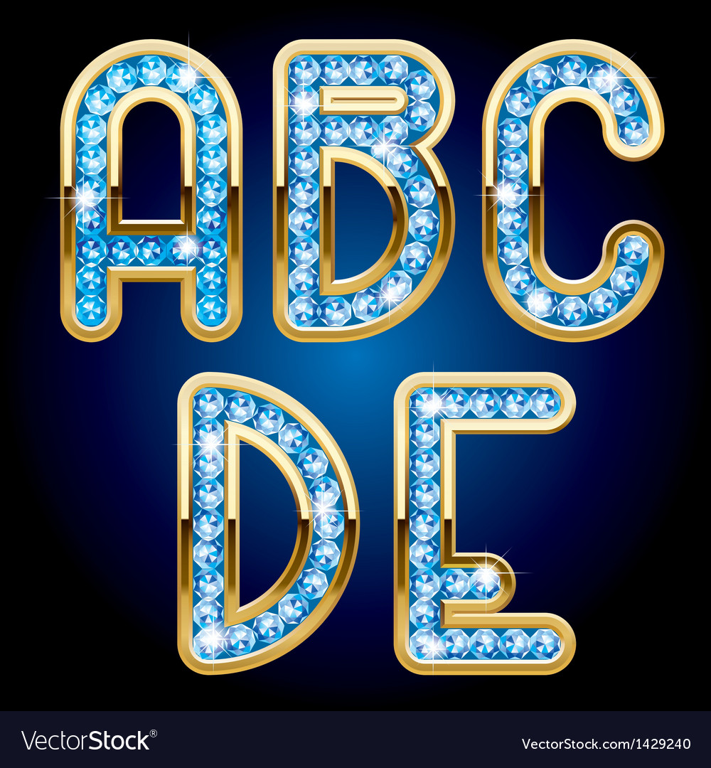 Gold and diamond alphabet letters vector