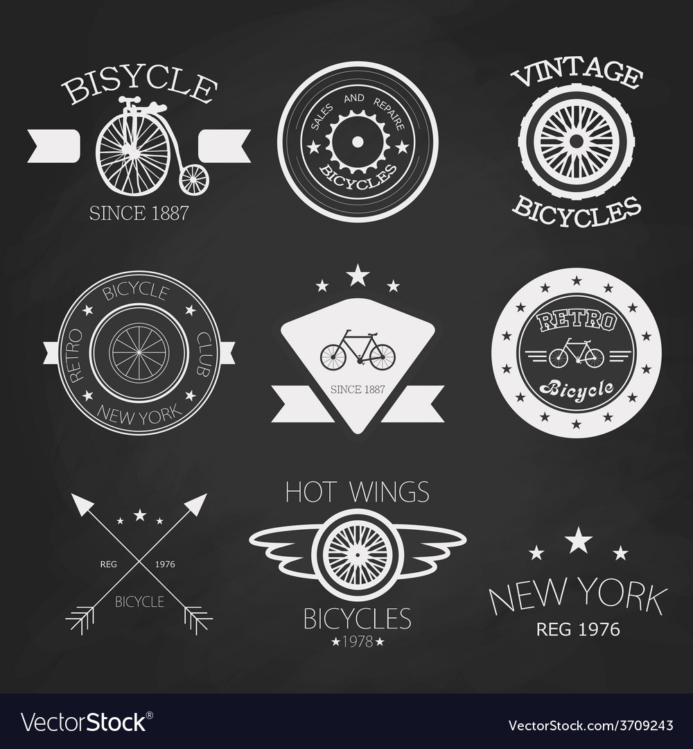Chalk set of old bikes shop logo set vector