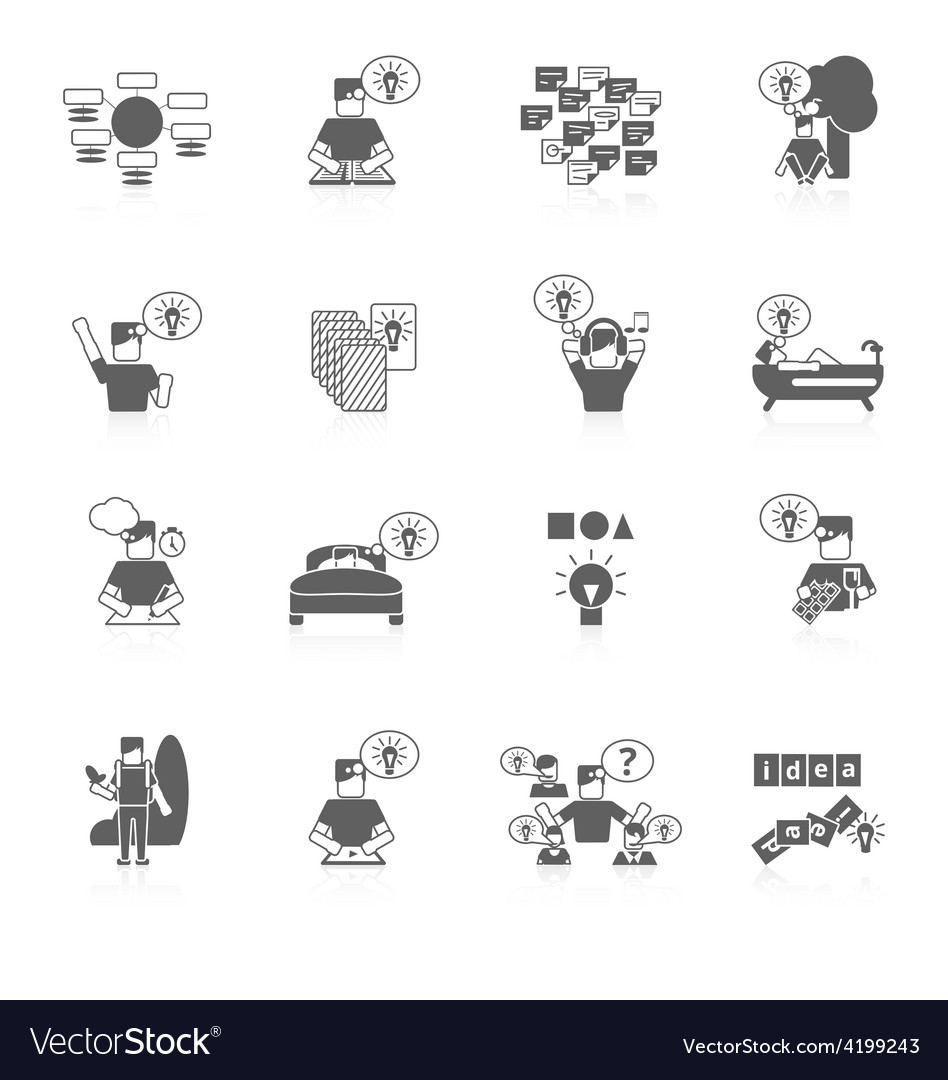 Ideas icons set vector