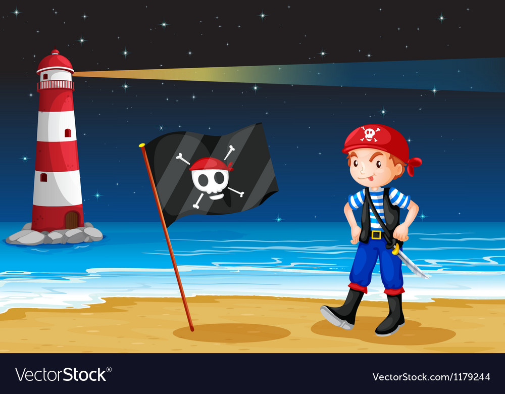 A pirate and the sea parola vector