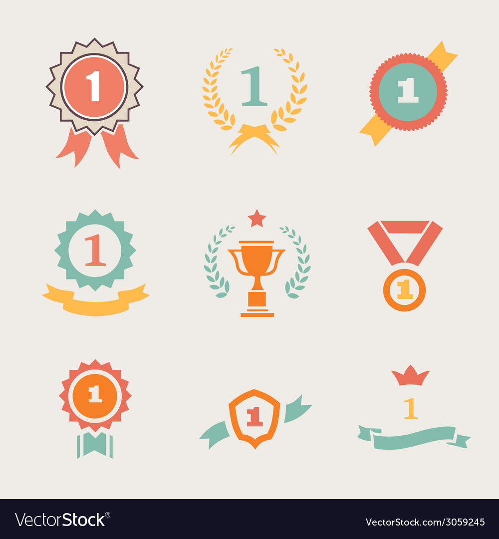 First place badges and ribbons vector