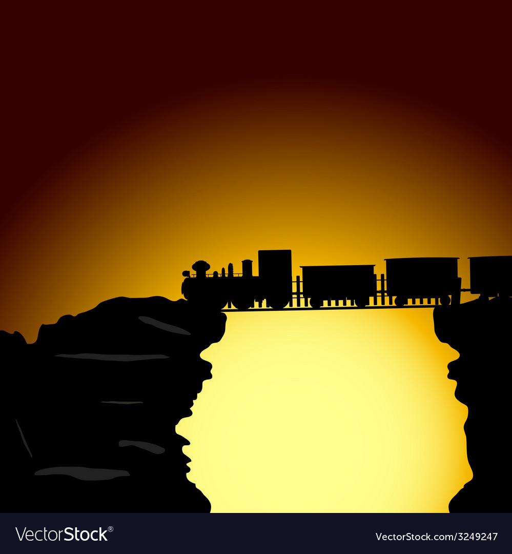 Train on the bridge on the cliff vector
