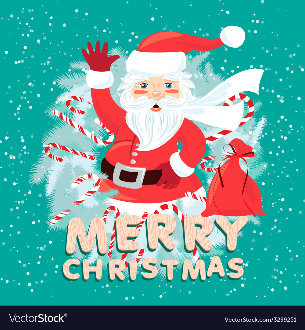 Waving santa claus iside the christmas wreath with vector