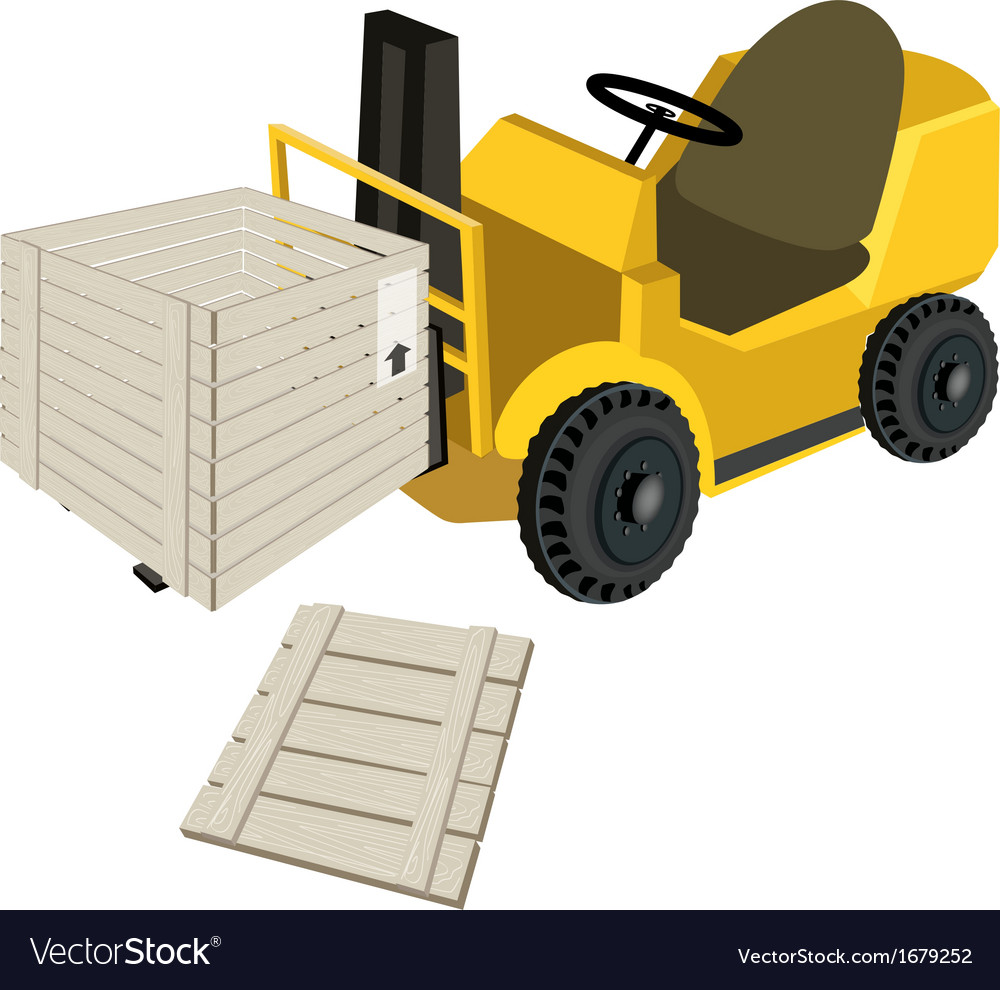 A forklift truck loading open shipping box vector