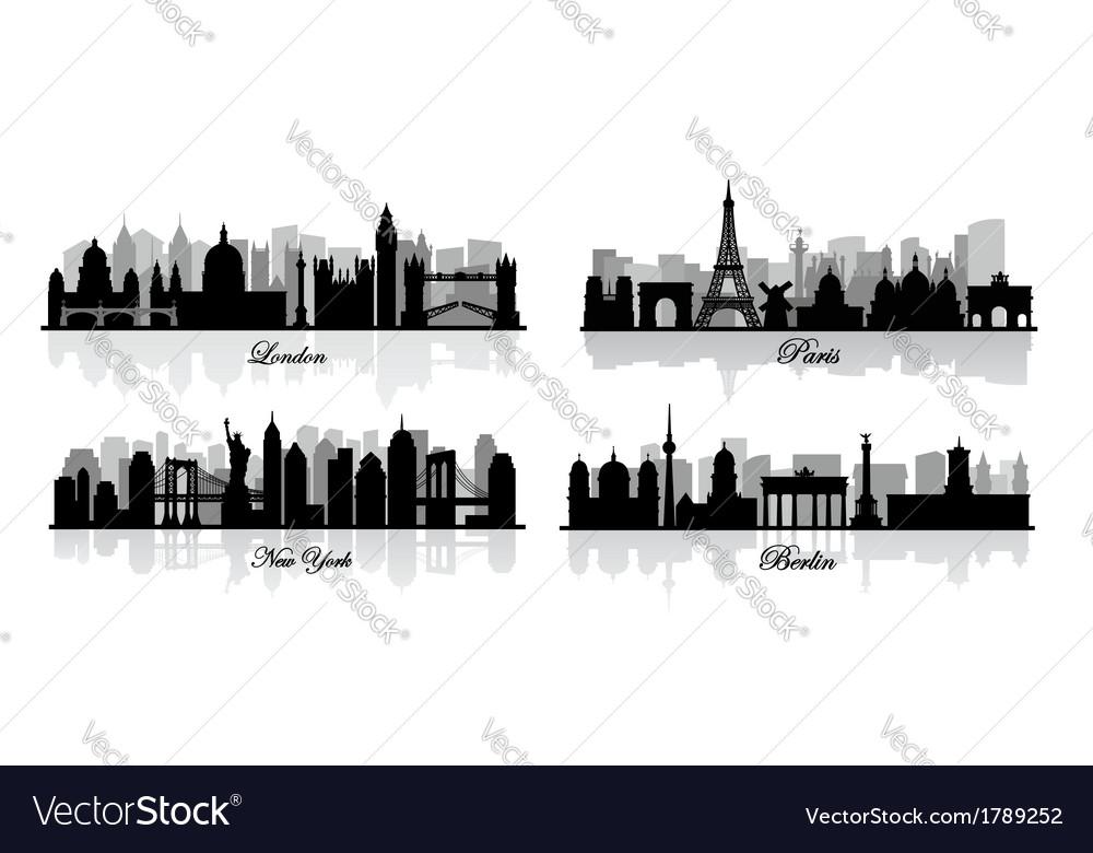 London new york berlin and paris vector