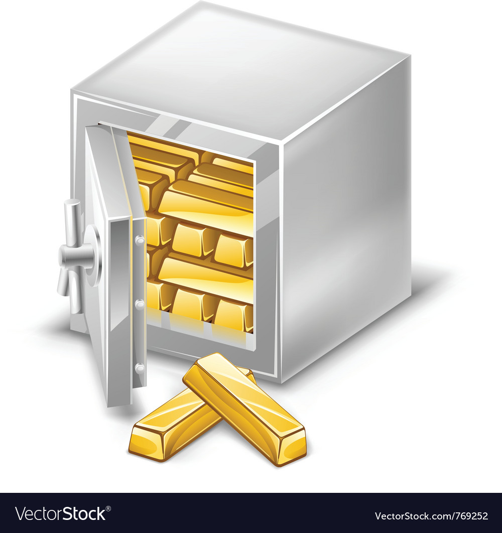 Opened safe with gold ingots vector